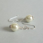 Balance Glass Pearl and Sterling Silver Earrings