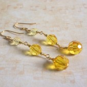 Cosmopolitan Yellow Swarovski Crystal and Sterling Silver Earrings