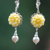 Yellow Flower and Pearl Earrings