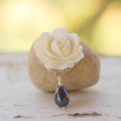 White Rose and Navy Pearl Teadrop Necklace
