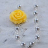 Yellow Rose and Grey Pearl Asymmetrical Beaded Necklace