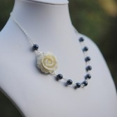 Ivory Rose and Navy Blue Pearl Necklace