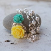 Dainty Asymmetrical Yellow and Seafoam Green Rose Necklace with White Swarovski Pearls