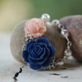 Navy and Pink Rose and White Pearl Asymmetrical Necklace