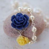 Cobalt Blue and Yellow Rose Pearl Asymmetrical Necklace