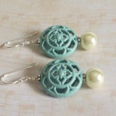 Dawn Ivory Glass Pearl, Enamel and Sterling Silver Earrings