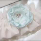 Ethereal Something Blue Flower Garter Tiffany Blue Flower Vintage Style Rhinestone