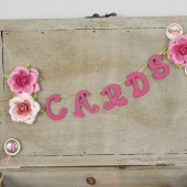 Wooden Card Box - Raspberry colored with flowers
