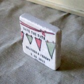 Bunting Save the Date Tile Magnets