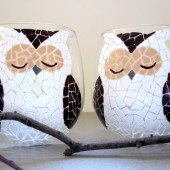 Mosaic Owls- Painted Wine Glasses