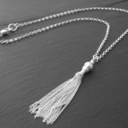Elegant Sterling Silver Tassel Charm Necklace