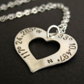 Custom Latitude and Longitude Sterling Heart Necklace