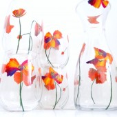 Color Splash Poppies- Hand Painted Wine Set