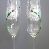 Dandelions with Hearts- Painted Toasting Flutes