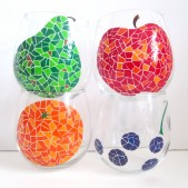 Mosaic Fruit- Painted Wine Glasses
