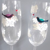 Lovebirds on Clouds- Painted Toasting Flutes
