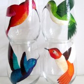 Hummingbirds- Hand Painted Wine Glasses