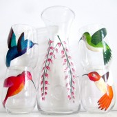 Hummingbirds and Flowers-5 Piece Painted Wine Set