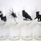 Halloween Mosaic Painted Wine Glasses