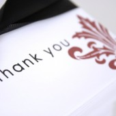 Black Damask Thank You Notes