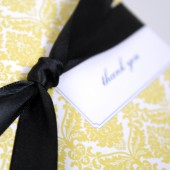 Yellow Damask Thank You Note