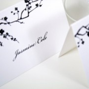 Black and White Blossoms Place Cards