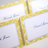 Yellow Damask Place Cards