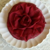 Crimson Red Flower Brooch