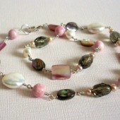 Uncover Freshwater Pearl, Faceted Glass, Rhodochrosite, Abalone Shell, Muscle Shell and Sterling Silver Necklace