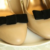 Black Velvet Bow Shoe Clips