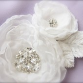 White Bridal Flower Fascinator Rhinestones, Millinery Leaf Accent