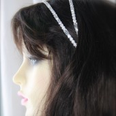 Double Rhinestone RIbbon Tie Headband Sash