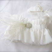 Ethereal Ostrich Feather Rhinestone Garter