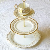 gold and white vintage cupcake stand