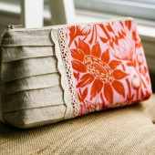 Pleated Clutch in Coral