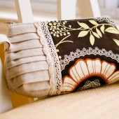 Pleated Clutch in Lacy Brown