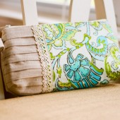 Pleated Clutch in Paisley Lime