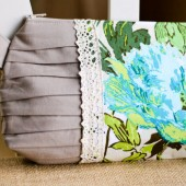 Pleated Clutch in Twilight Peony