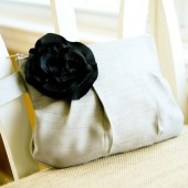 Gathered Clutch in Gray & Black