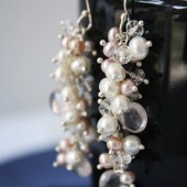 Pearl Cluster Earrings - Crystal Earrings