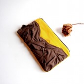 Crazy Lolo Pleats in yellow and dark brown zippered pouch, purse, clutch by Lolos