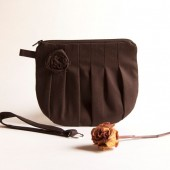 Romantic Rosebud pleats in brown zippered pouch, wristlet, clutch, purse by Lolos