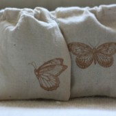 "BuTtErfLiEs wedding favor bag, muslin favor bag set of 10, each 3x4"" double drawstring gift bag"