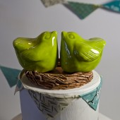 Green love Bird Cake Topper