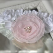 Pink Flower Garter on Your Color Choice Band