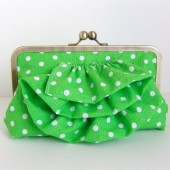 Green ruffled clutch