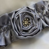 Vintage Jewel Silver Gray or Custom Color Rosette Luxe Satin Garter