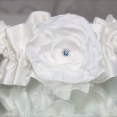White or Ivory Rose Something Old and Blue Vintage Rhinestone Garter