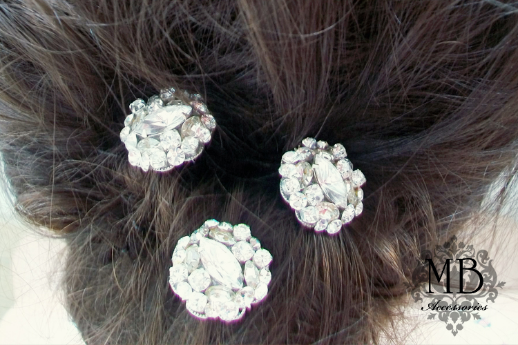 SALE Hollywood Style / Glamour Swarovski Rhinestones Silver Hair Pins / Head Piece by Mauve Binchely set of 3