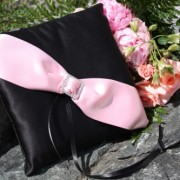 Black Satin & Pale Pink Pillow